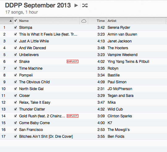 VulGeraghty DDPP Sept 2013 Playlist